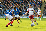 Jake Reeves (4) of Bradford City on the attack during the EFL Sky Bet League 1 match between Portsmouth and Bradford City at Fratton Park, Portsmouth, England on 28 October 2017. Photo by Graham Hunt.