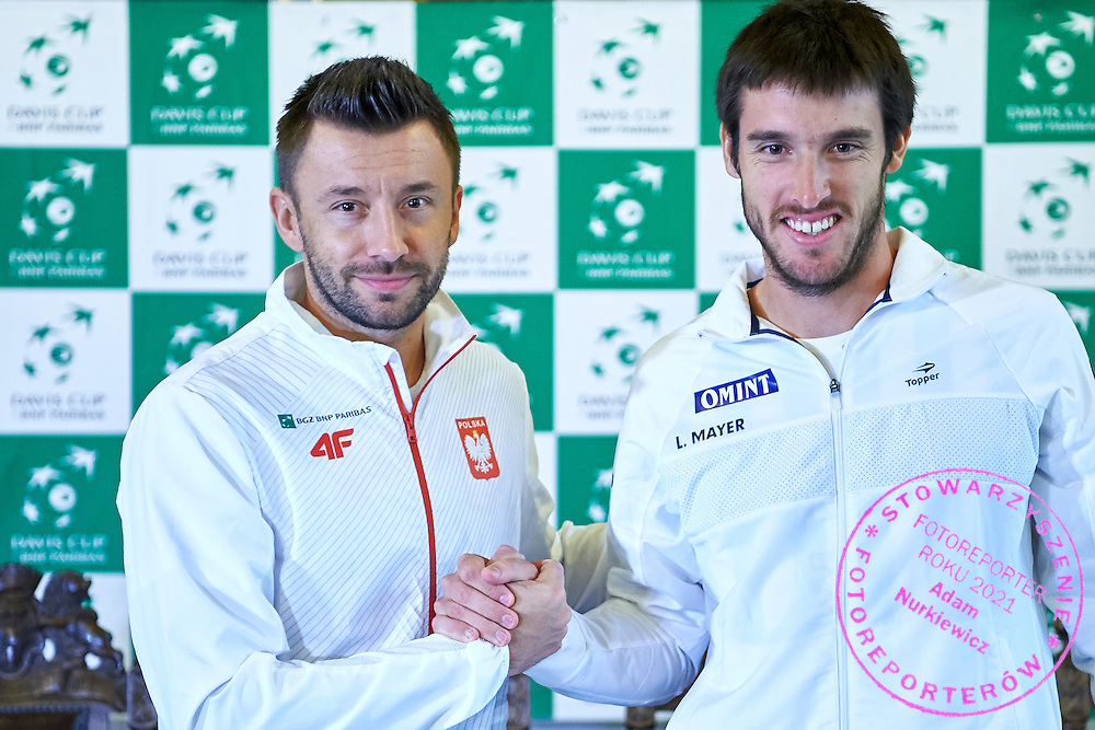 GDANSK, POLAND - 2016 MARCH 03: (L) Michal Przysiezny of Poland and (R) Leonardo Mayer of Argentina pose to the face off picture after official draw while press conference one day before the Davies Cup / World Group 1st round tennis match between Poland and Argentina at Ergo Arena on March 3, 2016 in Gdansk, Poland<br /> <br /> Picture also available in RAW (NEF) or TIFF format on special request.<br /> <br /> Any editorial, commercial or promotional use requires written permission.<br /> <br /> Mandatory credit:<br /> Photo by &copy; Adam Nurkiewicz / Mediasport