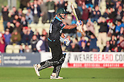 Ross Whiteley hits a four to seal victory for Worcestershire Rapids  during the Natwest T20 Blast North Group match between Worcestershire County Cricket Club and Leicestershire County Cricket Club at New Road, Worcester, United Kingdom on 29 May 2015. Photo by Shane Healey.