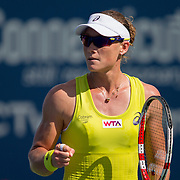August 16, 2014, New Haven, CT:<br /> Samantha Stosur reacts during a match against Kurumi Nara on day four of the 2014 Connecticut Open at the Yale University Tennis Center in New Haven, Connecticut Monday, August 18, 2014.<br /> (Photo by Billie Weiss/Connecticut Open)