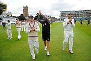 Chris Rogers of Somerset, Matthew Maynard and Marcus Trescothick on the parade around the County Ground after his teams win over Nottinghamshire the Specsavers County Champ Div 1 match between Somerset County Cricket Club and Nottinghamshire County Cricket Club at the Cooper Associates County Ground, Taunton, United Kingdom on 22 September 2016. Photo by Graham Hunt.