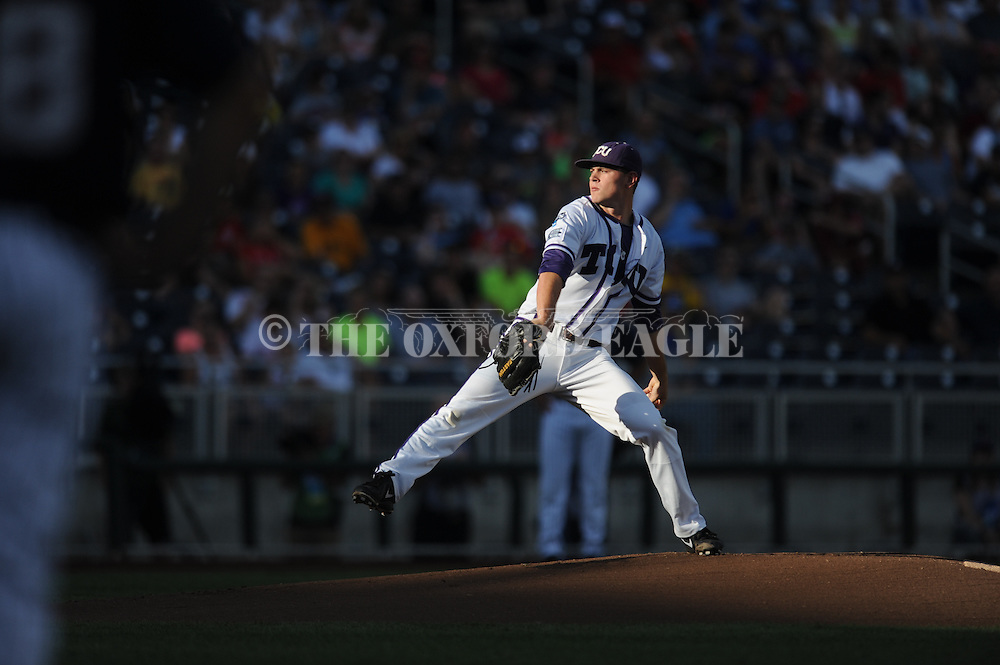Ole Miss vs. TCU's Tyler Alexander (13) in the College World Series at T.D. Ameritrade Park in Omaha, Neb. on Thursday, June 19, 2014. Ole Miss won 6-4.