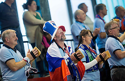 Supporters of Slovenia during handball game between Women National Teams of Slovenia and Switzerland in 2014 Women's European Championship Qualification, on March 30, 2014 in Arena Kodeljevo, Ljubljana, Slovenia. Photo by Vid Ponikvar / Sportida