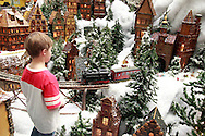 Matthew Busse, 8 of Alexandria, Kentucky watches a train go by as he's adding snow to the the Huntington Holiday Train display as setup nears completion at the main branch of the Columbus Metropolitan Library in downtown Columbus, Sunday, November 25, 2012..The trains are setup by Applied Imagination on Saturday and Sunday and will run through mid-January.