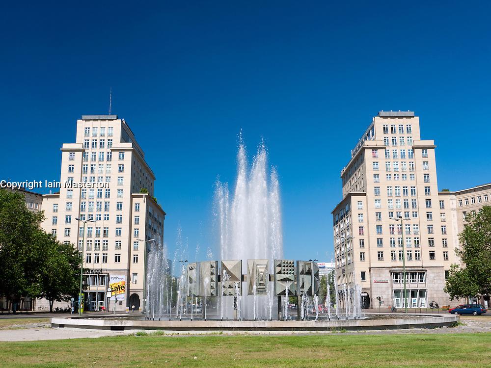 DDR era Fountain at Strausberger Platz on Karl Marx Allee in former East Berlin Germany