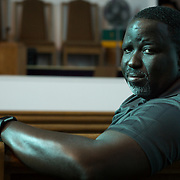 AUGUST 16, 2017--HOLLYWOOD--FLORIDA<br /> Pastor Eric Brown, 51, stands in the middle of his church, Mt. Pleasant AME Church in the Liberia section of Hollywood. Brown described the recent President Trump comments on the incidents in Virginia as bone crushing.<br /> (Photo by Angel Valentin)