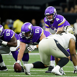 Aug 9, 2019; New Orleans, LA, USA; Minnesota Vikings quarterback Sean Mannion (4) against the New Orleans Saints during the second quarter at the Mercedes-Benz Superdome. Mandatory Credit: Derick E. Hingle-USA TODAY Sports