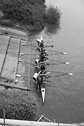 Mortlake/Chiswick. Greater London. London. 2017 Bourne Regatta At Chiswick Bridge. Course, Runs from and to Mortlake Anglian and Alpha Boathouse, dependent on the Tide Direction. Chiswick.  River Thames. <br /> <br /> General view, Eight pushing off from Tideway Scullers School Boathouse, Slipway.<br /> <br /> Saturday  06/05/2017<br /> <br /> [Mandatory Credit Peter SPURRIER/Intersport Images]