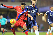 Nathaniel Mendez-Laing is challenged by Adam Thompson during the EFL Sky Bet League 1 match between Southend United and Rochdale at Roots Hall, Southend, England on 14 January 2017. Photo by Daniel Youngs.
