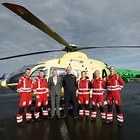 FREE TO USE PHOTOGRAPH....30.10.15<br /> Scotland's Charity Air Ambulance (SCAA) unveiled it's new helicopter at Perth airport this morning a EC135 T2i (pictured) which replaces the Bolkow 105 helicopter which is retiring from service. The new helicopter will increase speed, range, endurance and payload, allow SCAA to fly at night and in cloud. Scottish Health Minister Shona Robison MSP helped unveil the new helicopter...Pictured from left,  Mark Tynan, Craig McDonald, David Craig SCAA Chief Exec, Chief Pilot Russell Myles, Julia Barnes, John Salmond and John Pritchard.<br /> for further info please contact Maureen Young on 07778 779000<br /> Picture by Graeme Hart.<br /> Copyright Perthshire Picture Agency<br /> Tel: 01738 623350  Mobile: 07990 594431