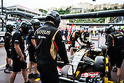 May 20-24, 2015: Monaco Grand Prix - Lotus mechanics doing pitstop practice