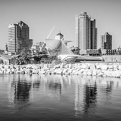 Milwaukee skyline photo in black and white. Picture includes University Club Tower, Northwestern Mutual Tower, and Milwaukee Art Museum.