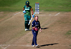 Danielle Hazell of England Women celebrates taking the wicket of Chloe Tryon of South Africa Women - Mandatory by-line: Robbie Stephenson/JMP - 05/07/2017 - CRICKET - County Ground - Bristol, United Kingdom - England Women v South Africa Women - ICC Women's World Cup Group Stage