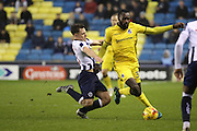 Millwall midfielder Ben Thompson (8) battles for possesion with with Bristol Rovers midfielder Hiram Boateng (34) during the EFL Sky Bet League 1 match between Millwall and Bristol Rovers at The Den, London, England on 12 November 2016. Photo by Matthew Redman.