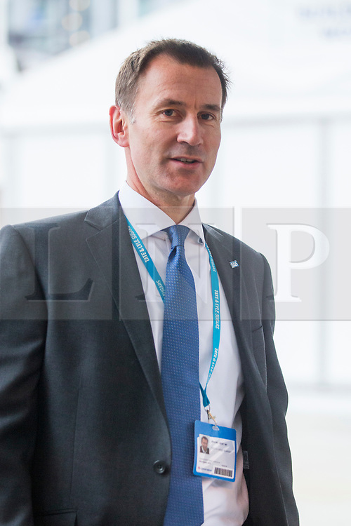© Licensed to London News Pictures. 04/10/2017. Manchester UK. Jeremy Hunt leaves the Midland hotel this morning ahead of Theresa May's speech on the third & final day of the Conservative Party Conference today in Manchester. Photo credit: Andrew McCaren/LNP