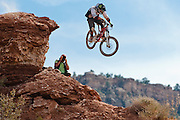 Jamie Goldman drops off a cliff at the 2010 Red Bull Rampage in Virgin Utah