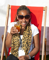 LIVERPOOL, ENGLAND - Sunday, June 19, 2011: Spectators enjoy a glass of Pimms during day four of the Liverpool International Tennis Tournament at Calderstones Park. (Pic by David Rawcliffe/Propaganda)