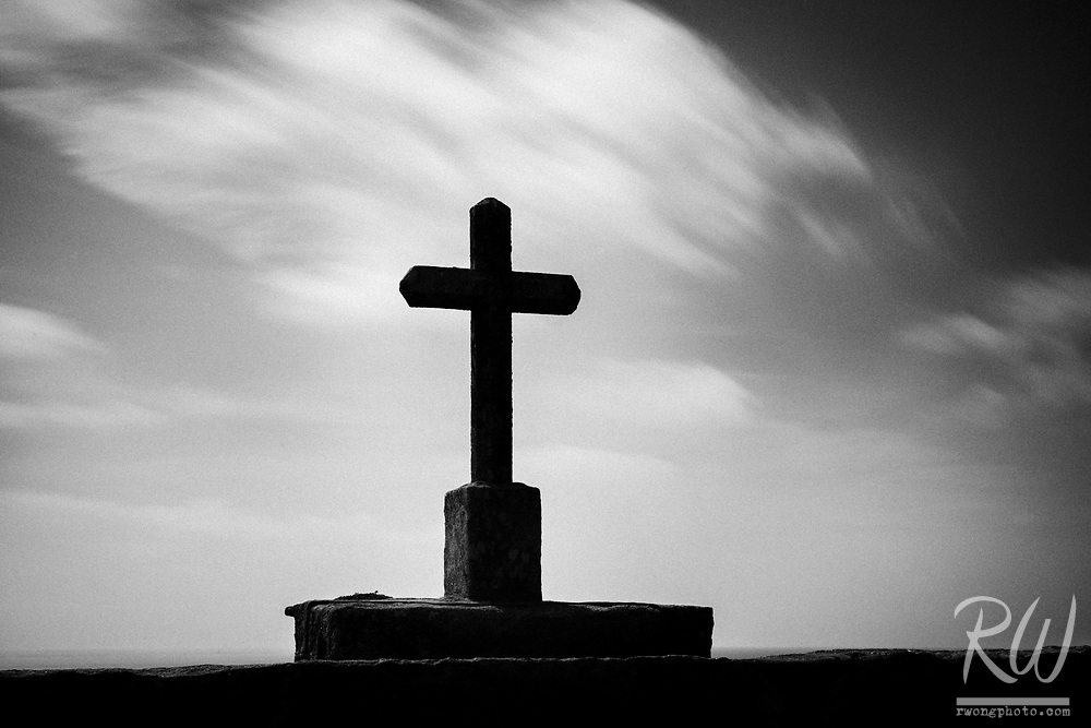 Christian Cross Overlooking Atlantic Ocean (Black & White), Baiona, Spain