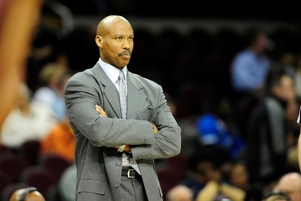 Feb. 9, 2011; Cleveland, OH, USA; Cleveland Cavaliers head coach Byron Scott scowls at his players during the final seconds of the fourth quarter against the Detroit Pistons at Quicken Loans Arena. The Pistons beat the Cavaliers 103-94 for Cleveland's 26th loss in a row. Mandatory Credit: Jason Miller-US PRESSWIRE