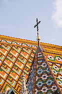 A detail of the colourful tiles on the roof of Matyas Church, Budapest, Hungary