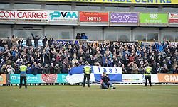Bristol Rovers fans celebrate at full time. - Mandatory byline: Alex James/JMP - 19/03/2016 - FOOTBALL - Rodney Parade - Newport, England - Newport County v Bristol Rovers - Sky Bet League Two