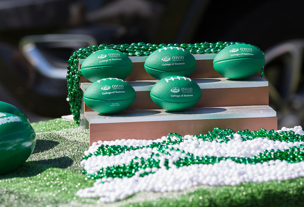 Ohio University College of Business footballs were displayed and handed out to alumni and their family members during the College of Business Homecoming tailgating event on October 10, 2015 at Ohio University's Tailgreat Park. Photo by Emily Matthews
