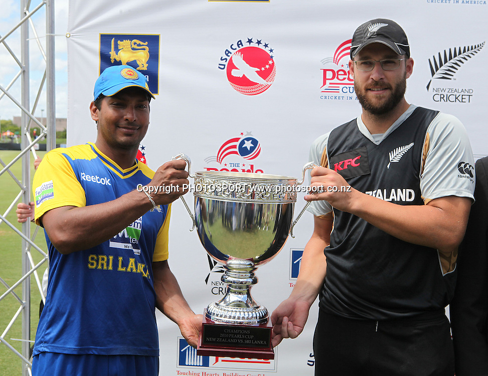 Vetori and Sangakkara with the Pearls Cup. New Zealand Black Caps v Sri Lanka, international exhibition Twenty 20 cricket match, Central Broward Regional Park, Florida, United States of America. 23 May 2010. Photo: Barry Bland/PHOTOSPORT