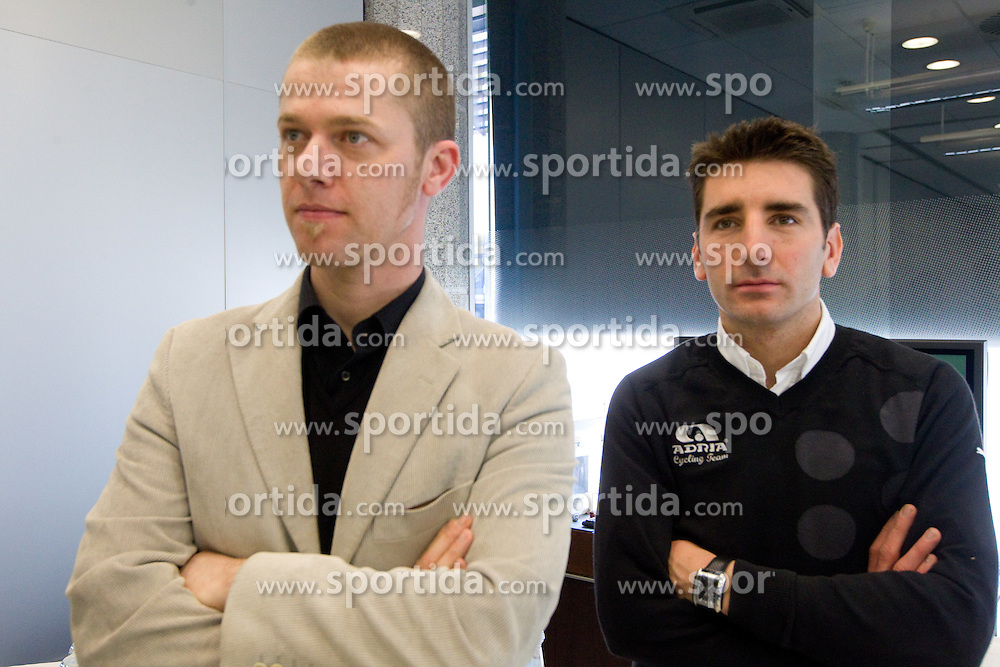 Damir Dominic and Andrej Filip at press conference of Pro Cycling Team Adria Mobil Novo mesto before new season, on March 8, 2011 at ACH, Ljubljana, Slovenia. (Photo By Vid Ponikvar / Sportida.com)
