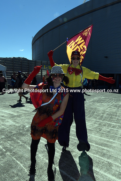 West Indies Fans dress up during the ICC Cricket World Cup Quaterfinal match between New Zealand and West Indies at Westpac Stadium in Wellington, New Zealand. Saturday 21  March 2015. Copyright Photo: Raghavan Venugopal / www.photosport.co.nz