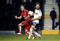 Gustav Engvall of Bristol City passes the ball past Michael Madl of Fulham - Mandatory by-line: Robbie Stephenson/JMP - 21/09/2016 - FOOTBALL - Craven Cottage - Fulham, England - Fulham v Bristol City - EFL Cup