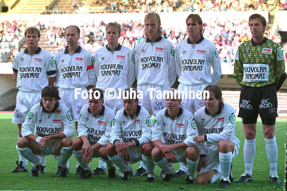 9.7.1992, Olympiastadion, Helsinki.<br /> Suomen Cup 1992, loppuottelu FF Jaro - Myllykosken Pallo-47.<br /> MyPa line up before the kick off, back row, left to right: Jukka Turunen, Esa Pekonen, Jukka Koskinen, Sami Hyypi&auml;, Mika Viljanen, Mihail Birjukov.<br /> Front row, l to r: Jari Litmanen, Janne M&auml;kel&auml;, Janne Lindberg, Mauri Keskitalo, Yrj&ouml; Happonen.