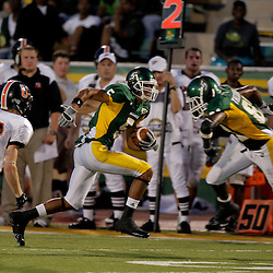10 September 2009:  Southeastern Louisiana Lions wide receiver Chris Wilson (5) runs after a catch during a game between Southeastern Louisiana University Lions and Union College at Strawberry Stadium in Hammond, Louisiana.