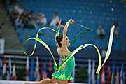 Neta Rivkin during final at ribbon in Pesaro World Cup at Adriatic Arena on 28 April 2013. Neta was born on June 23, 1991 in Petah Tiqwa Israel. <br />