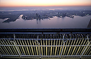 New York . elevated view. on windows of the world. restaurant and bar  on the top of the world trade center, panoramic view on Manhattan  new york  Usa /  windows of the world. restaurant et bar  au sommet du world trade center. vue panoramique sur Manhattan  new york  Usa