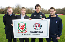 CARDIFF, WALES - Thursday, January 31, 2013: Wales' manager Chris Coleman with James Morris [r] (Sports Xtra Coach) and Alex Lock [l] (Sports Xtra Coach), Rob Oyston [2nd l] (Director of Sports Xtra) help launch Vauxhall's Fun Football programme with the Football Association of Wales and the Welsh Football Trust at the Vale of Glamorgan Hotel. For more information please contact Amy White on 07805 936211.  (Pic by David Rawcliffe/Propaganda)