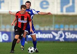 Nace Kosmac (24) of Primorje and Mihael Bukovec  (4) of Nafta at 12th Round of PrvaLiga Telekom Slovenije between NK Primorje vs NK Nafta Lendava, on October 5, 2008, in Town stadium in Ajdovscina. Nafta won the match 2:1. (Photo by Vid Ponikvar / Sportal Images)