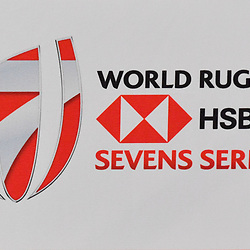 Logo of the World Rugby HSBC Seven Series during Captains photocall and press conference prior to the Hsbc Paris Rugby Sevens on June 6, 2018 in Paris, France. (Photo by Aude Alcover/Icon Sport)