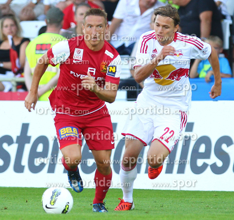 18.08.2012, Trenkwalder Arena, Maria Enzersdorf, AUT, 1. FBL, FC Admira Wacker Moedling vs FC Red Bull Salzburg, im Bild Patrik Jezek, (FC Admira Wacker Moedling, #7) und Stefan Hierlaender, (Red Bull Salzburg, #22)  // during Austrian Bundesliga Football Match, round 1, between FC Admira Wacker Moedling vs FC Red Bull Salzburg at the Trenkwalder Arena, Maria Enzersdorf, Austria on 2012/08/18. EXPA Pictures © 2012, PhotoCredit: EXPA/ Thomas Haumer