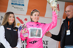 Belle de Gast (NED) of Parkhotel Valkenburg - Destil Cycling Team celebrates winning the best sprinter's nuclear pink jersey after Stage 4 of the Setmana Cicilsta Valenciana - a 118 km road race, starting and finishing in Benidorm on February 25, 2018, in Alicante, Spain. (Photo by Balint Hamvas/Velofocus.com)
