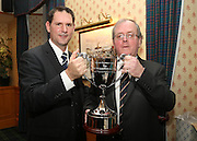 Alistair Gibb presents the Isobel Sneddon memorial trophy to John Nelms - Dundee FC 40th Anniversary of 1973 League Cup win dinner<br /> <br />  - &copy; David Young - www.davidyoungphoto.co.uk - email: davidyoungphoto@gmail.com