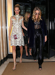 Models Suki Waterhouse, Cara Delevingne and sister Poppy Delevingne leaving the Claridges hotel in Mayfair, London, UK. 15/09/2014<br />