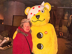COLLECT: Joyce Rose, a former tea lady at at the BBC who gave bosses the idea for Children In Need, is seen with Pudsey at the BBC. London, November 14 2018.