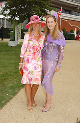 Left to right,MRS ROD FABRICIUS and her daughter EMILY FABRICIUS at the 3rd day of the Glorious Goodrwood Racing festival 2006 - Ladies Day, at Goodwood Race course, West Sussex on 3rd August 2006.<br />