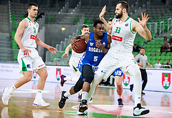 Rashun Jarrel Davis of Rogaska vs Bojan Radulovic of Petrol Olimpija during basketball match between KK Petrol Olimpija and KK Rogaska in Round #5 of Liga Nova KBM za prvaka 2018/19, on March 31, 2019, in Arena Stozice, Ljubljana, Slovenia. Photo by Vid Ponikvar / Sportida