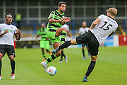 Forest Green Rovers Fabien Robert (26) andJamie Grimes battle for the ball during the Vanarama National League match between Dover Athletic and Forest Green Rovers at Crabble Athletic Ground, Dover, United Kingdom on 10 September 2016. Photo by Shane Healey.