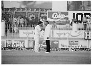 England captain Mike Gatting in full-on confrntation with Pakistan Umpire Shakoor Rana during the 2nd Test Match, Pakistan v England at the Iqbal Stadium Faisalabad, 8.12.1987. Photograph: Graham Morris/cricketpix.com (Tel: +44 (0)20 8969 4192; Email: sales@cricketpix.com) Ref. No. 87663b14
