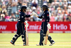 Tammy Beaumont of England Women and Danielle Wyatt of England fist bump - Mandatory by-line: Robbie Stephenson/JMP - 09/07/2017 - CRICKET - Bristol County Ground - Bristol, United Kingdom - England v Australia - ICC Women's World Cup match 19