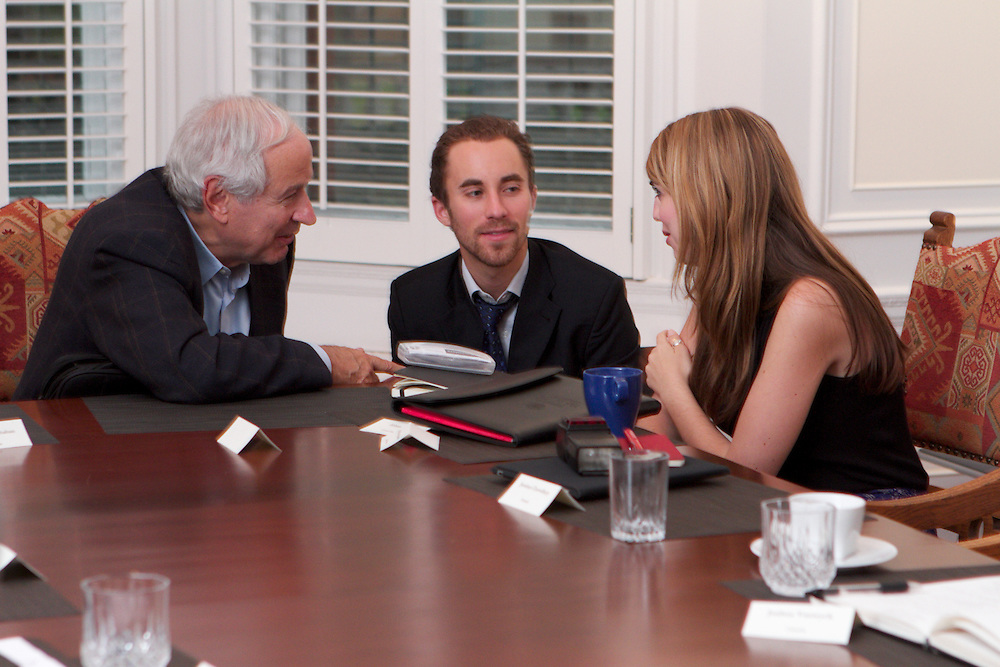 On October 21t, 2011 the Right Honorable Paul Martin, former Prime Minister of Canada, visits with the Jeanne Sauve Foundation 2011-2012 Sauve Scholars.