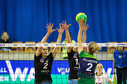 Maret Balkestein-Grothues of PGE Atom Trefl Sopot and Tina Grudina of Calcit Ljubljana during the volleyball match between Calcit Ljubljana and PGE Atom Trefl Sopot at 2016 CEV Volleyball Champions League, Women, League Round in Pool B, 1st Leg, on October 29, 2016, in Hala Tivoli, Ljubljana, Slovenia.  (Photo by Matic Klansek Velej / Sportida)