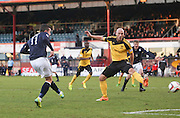 Ryan Conroy's effort was Dundee's best chance of the afternoon but was saved by Livingston keeper Darren Jamieson - Dundee v Livingston,  SPFL Championship at Dens Park<br /> <br />  - &copy; David Young - www.davidyoungphoto.co.uk - email: davidyoungphoto@gmail.com